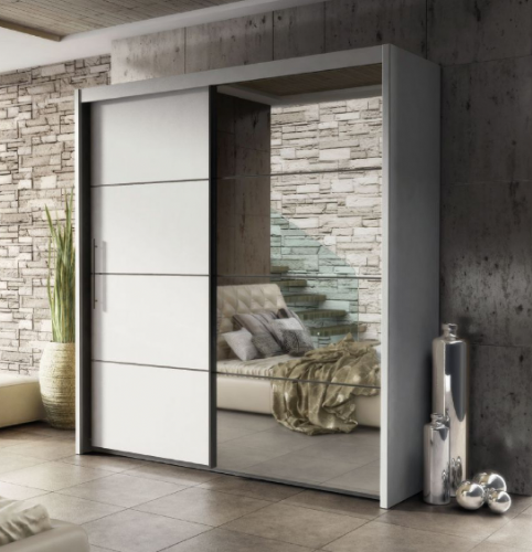 Carlo Sliding Door Wardrobe 201cm in Matt White - 2531